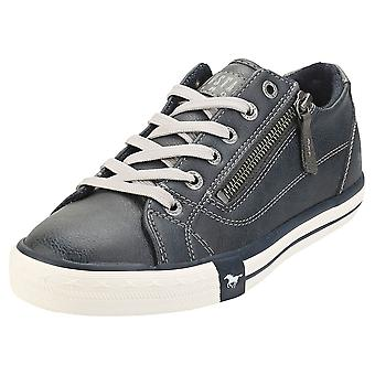Mustang Low Top Side Zip Womens Fashion Trainers in Navy