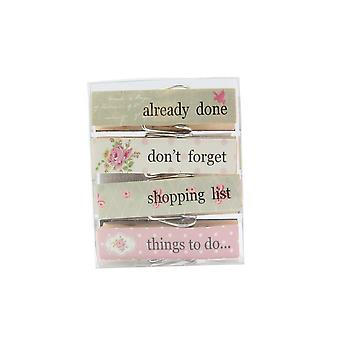 Floral Design Large Reminder Clothes Pegs - Pack of 4 Pegs - Gift Item
