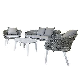 Charles Bentley Rattan & Hardwood Madrid Lounge Set 2 krzesła Sofa i stolik kawowy