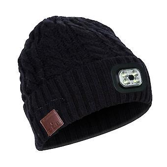 Hut mit Kopfhörern und Scheinwerfer, eine Größe, gerippt mit Muster - schwarz