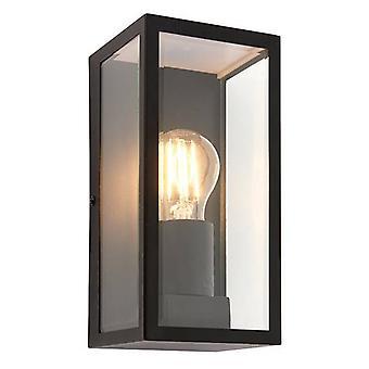 1 Lanterna da parete all'aperto leggera Matt Black, Vetro IP44, E27