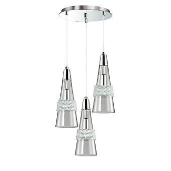 Inspiriert Diyas - Emilia - Deckenhaufen Anhänger 3 Licht E14 Runde poliert Chrom, Kristall