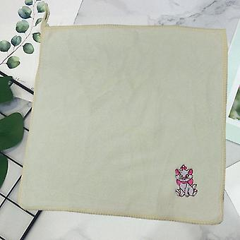 Small Square Embroidery Mary Cat Cartoon Stitch Face Disney Children's Towel Handkerchief
