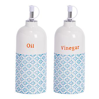 Nicola Spring 2pc Hand-Printed Oil and Vinegar Pourer Bottle Set - Porcelain with Stainless Steel Spout - Blue - 500ml