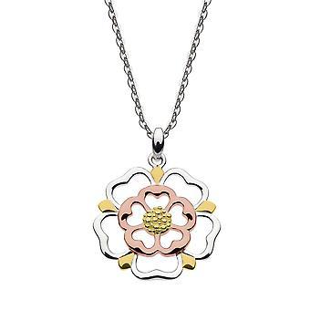 Heritage Sterling Silver Tudor Rose Öppna Guld & Rose Plåt hänge 9319RGD