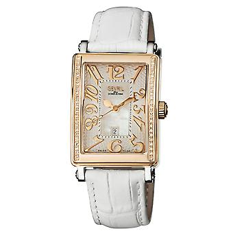 Gevril Women's 9349RE Avenue of America Diamonds Rose-Gold IP Läder Datum Klocka