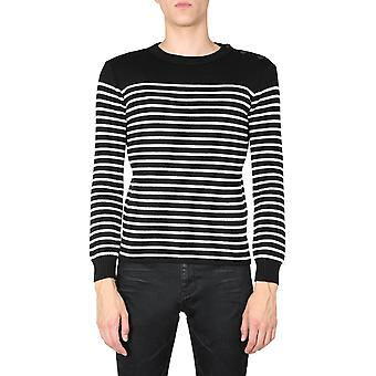 Saint Laurent 588063yafq21095 Men's Vit/svart bomullströja