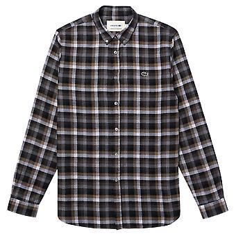 Lacoste Mens afgeronde Hem Katoen Twill Geruit shirt