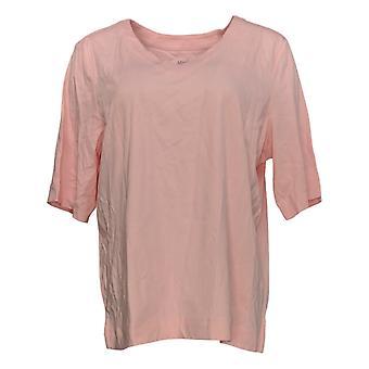 Martha Stewart Women's Top Elbow-Sleeve V-Neck Tunic Pink A353793