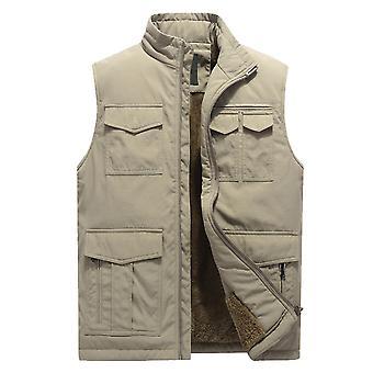 YANGFAN Men's Stand Collar Solid Color Casual Plus Velvet Zipper Waistcoat Vest with Pocket