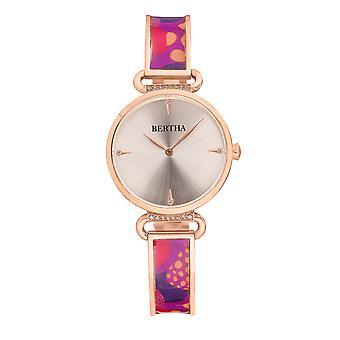 Bertha Katherine Enamel-Designed Bracelet Watch - Purple