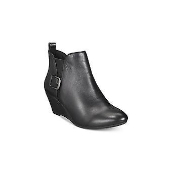 Anne Klein Womens Abilene couro amêndoa Toe tornozelo moda botas