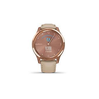 Garmin 010-02241-01 Vivomove Luxe 18k Rose Gold Inoxidável Caixa de Aço Inoxidável e Relógio de Couro Italiano de Areia Leve