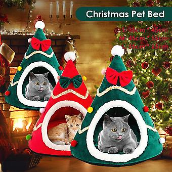 Cat Bed Christmas Comfortable Plush Pet Bed Soft Small Dog Bed Washable Puppy Cushion Kennel Portable Warm Pet Basket Supplies