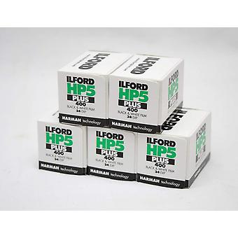 Ilford hp5+ black & white film, 24 exp, multipack of 5