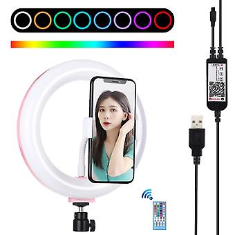 PULUZ 7,9 Zoll 20cm USB RGB dimmbare LED Dual Farbe Temperatur LED gebogen Licht Ring Vlogging Selfie Fotografie Video Lichter mit Telefon Klemme(Pink)