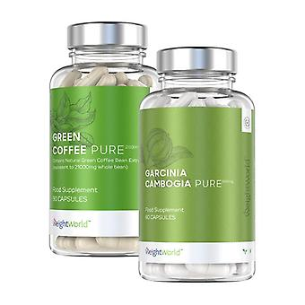 Diet Booster Pack - Green Coffee + Garcinia Cambogia Pure Food Supplement Double Pack For Helping Achieve Your Dietary Management Goals - 150 Pills