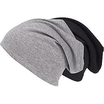 Shenky set of 2 black and grey jersey long spring hat