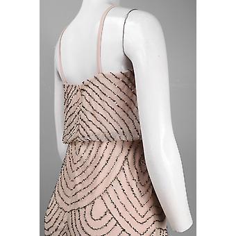 Papell V-kaula helmillä blouson mesh mekko