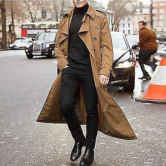 معطف الرجال، معطف طويل خمر خندق، سترة الرجال، الأعمال عارضة الصلبة طويلة