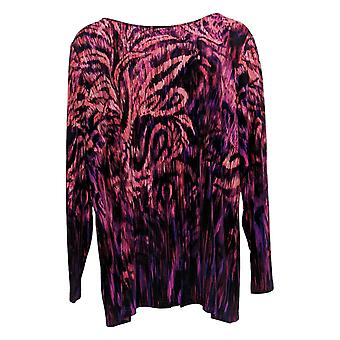 Bob Mackie Women's Plus Top Feather Paisley Print Knit Red A366542