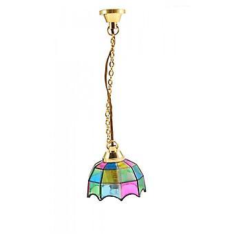 Lampe pendentif Dolls House avec ombre multicolore 12v Éclairage électrique