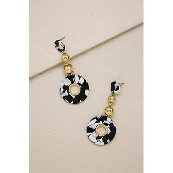 Looped In Black & White Resin 18k Gold Plated Drop Earrings