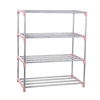 Four Layers Shoe Rack Easy Assemble Stainless Steel  Storage Shoe Cabinet Shoe Rack Hanger Home Organizer Accessories