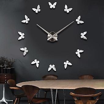 Large 3d diy wall clock home decor mirror sticker art clock