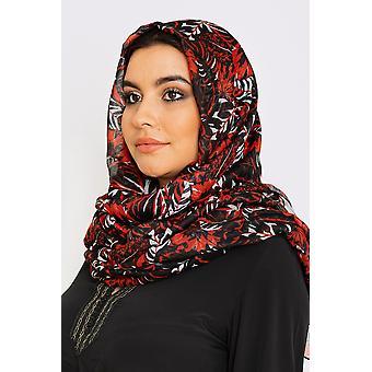 Kvinnor's lätta halsduk i svart och rött tropiskt tryck
