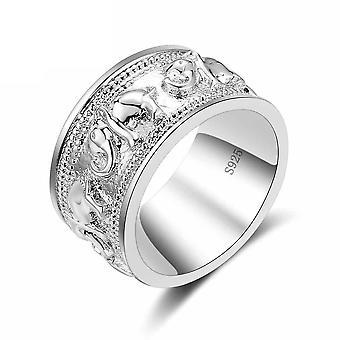 خاتم فضة لعاشق خمر الخطوبة، شكل الفيل، الرجال & زفاف المرأة