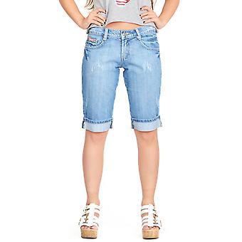Shorts denim afligidos descoloridos descoloridos - azul