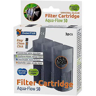 Superfish Aqua Flow 50 Crystal Clear Aquarium Filter Cartridge (3Pcs)