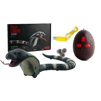 Highly Simulation Tricky Toy Remote Control Rattlesnake Animal Infrared Simulation Cobra Creepy Prank Funny Electric Snake