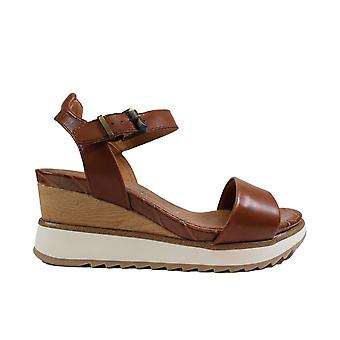 Tamaris 28015 Tan Leather Womens Wedge Sandals