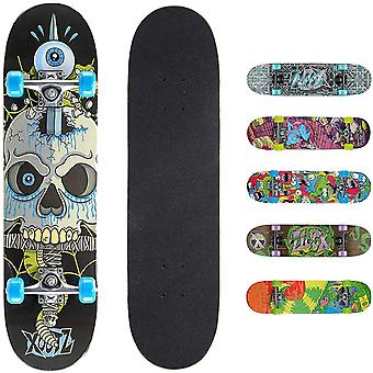 Xootz Kids Complete Beginners Double Kick Trick Skateboard Maple Deck - 31 x 8 Pouces Snake Skull