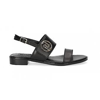 Women's Shoes Sandalwood Liu-jo Erin 3 Leather Black Color Ds21lj23 Sa1041