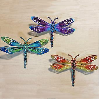 Joe Davies Set Of 3 Small Metallic Metal Dragonflies Decorative Garden Wall Art 281053cdf