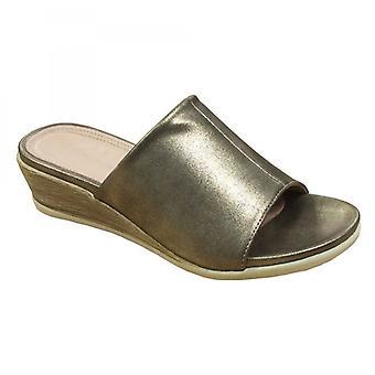 Cipriata Dantina Ladies High Wedge Mule Sandals Gold