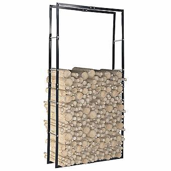 vidaXL Firewood Shelf Black 100×25×200 cm Steel