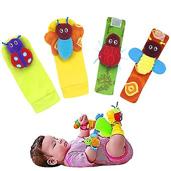 4pcs Gardenbugs Lovely Wrist Rattle And Foot Finder Set Soft Animals Toys For Babies