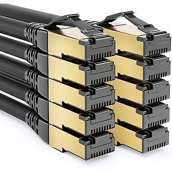 10x 0,5m CAT8.1 Patchkabel Netzwerkkabel Datenkabel S/FTP PIMF 2000MHz 40Gbit RJ45 LAN DSL Kabel