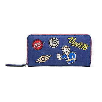 Fallout Fallout 76 Vault Denim With Embroidered Patches Purse Around Zip Wallet Coin Purse, 24 cm, Blue