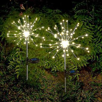 Solarlampe Garten Solarleuchten Außen, 2 X Solar Feuerwerk Licht Warmweiß LED Solarleuchten
