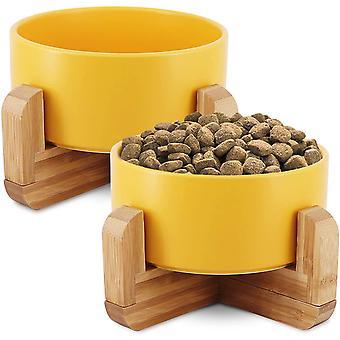 Katzennapf, 2X Futternapf Katze & Hund mit Bambus Halter, 850 ml Fressnapf, Katzennapf erhöht