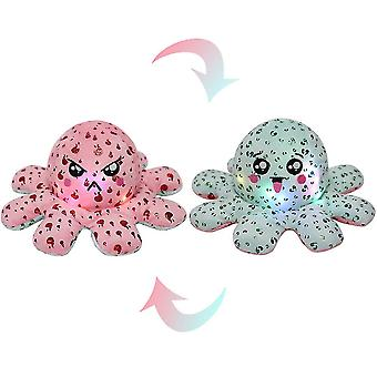 Red green luminous double-sided octopus plush toysequin printed octopus with light x7889