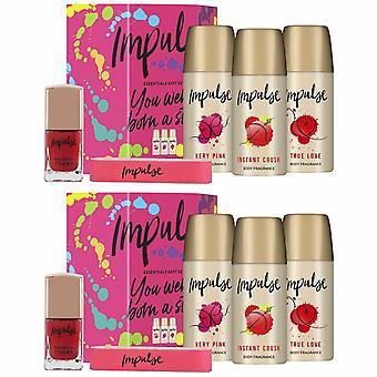 Impulse Essentials Body Fragrance, Nail Buffer & Varnish pk 2