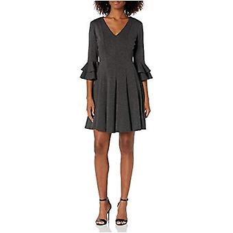 Gabby Skye Women's 3/4 Tiered Sleeve V-Neck Ponte Fit and Flare Dress