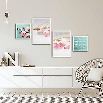 4PBCT-02 Flerfärgad dekorativ inramad MDF-målning (4 stycken)