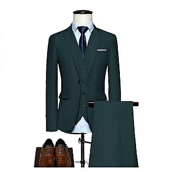 Men's 3 Pieces Elegant Solid One Button Slim Fit Single Breasted Party Suit